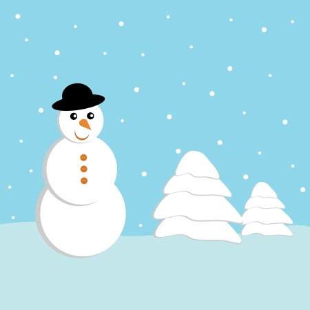Christmas landscape with snowflakes and snow doll Vector