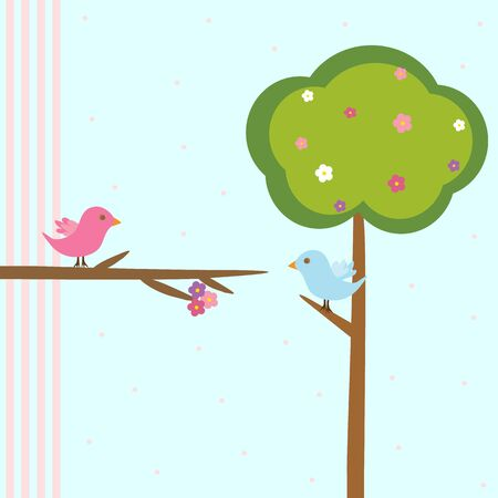 Cute pink birds on a branch with flowers Vector