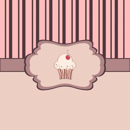 Achtergrond met cupcake en frame Stock Illustratie
