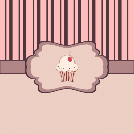 Background with cupcake and frame Vector