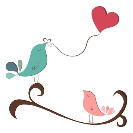 Kleine vogels in liefde met hart ballon op tak Stock Illustratie