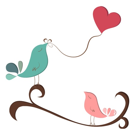 vernal: Little birds in love with heart balloon on branch