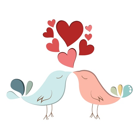 Two cute bird lovers on pink hearts shaped Stock Vector - 17297380