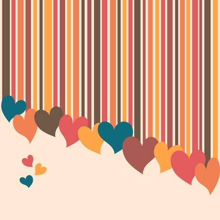 Hearts on stripes valentines day invitation card Vector