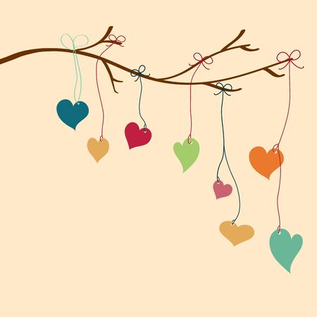 Beautiful valentine hearts hung from tree branches  Stock Vector - 17338206