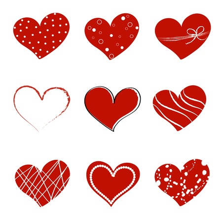 Collection of different style hearts separated on white background Stock Vector - 17413515