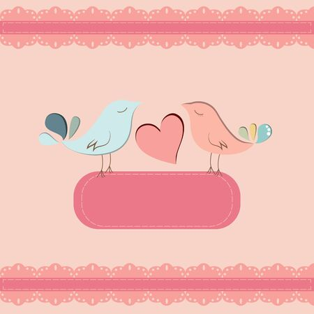 Beautiful card template with couple of birds Stock Vector - 17501610
