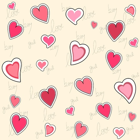 Seamless pattern of hearts and hand writing elements Stock Vector - 17708627