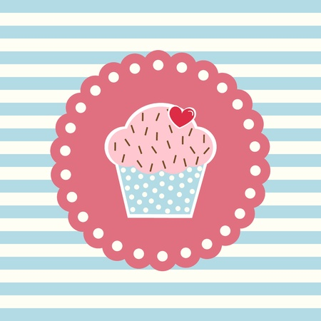 Valentine s card with cupcake and heart decoration Stock Vector - 17708626