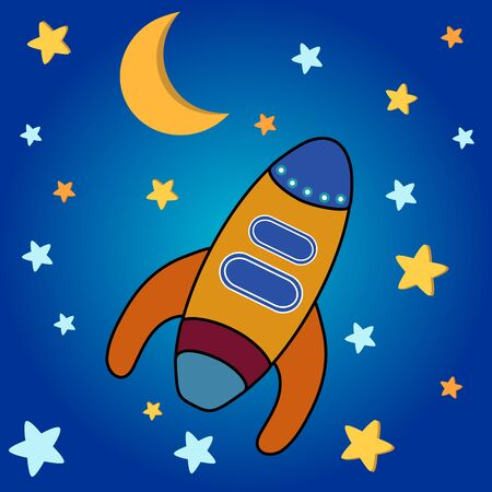 Star background with moon, stars and space rocket Vector