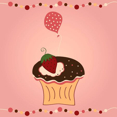 cupcake with strawberry and balloon on pink background