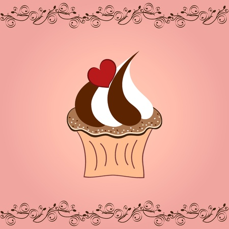 cupcake with heart on pink background Vector