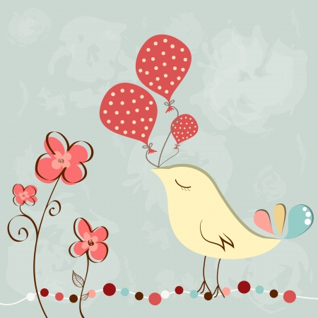 Wonderful greeting birthday card with cute bird holding balloons Illustration