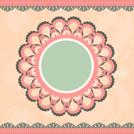 Grunge, vintage background with a circular frame and lace Vector