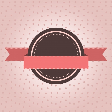 Vintage label with polka dot design on pink background
