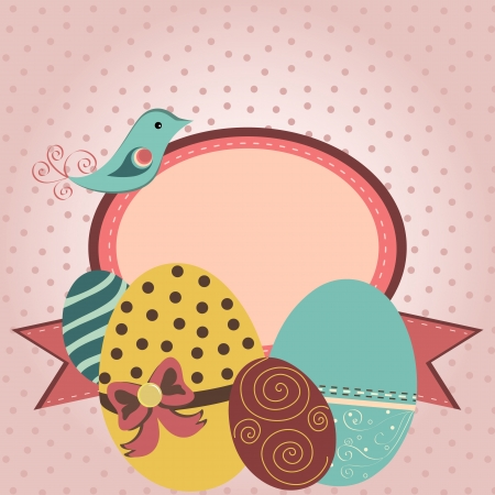 Card with easter eggs in retro style Stock Vector - 18563422