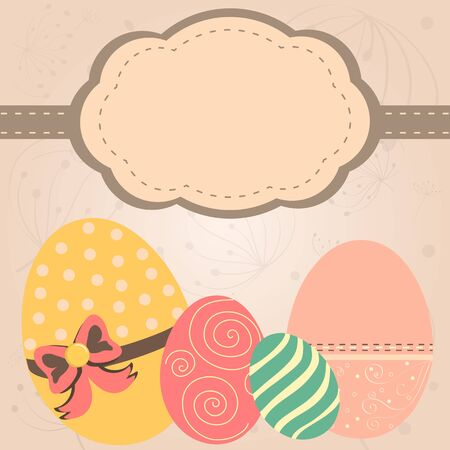 Card with easter eggs in retro style Vector