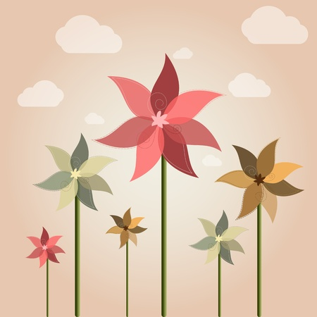 windmill toy: Vector weather vane in a shape of flower