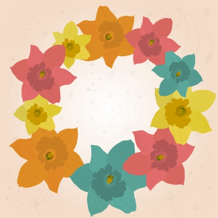 Beautiful spring frame with jonquils Vector