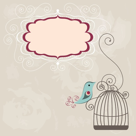 Beautiful background with frame and birdcage Ilustrace