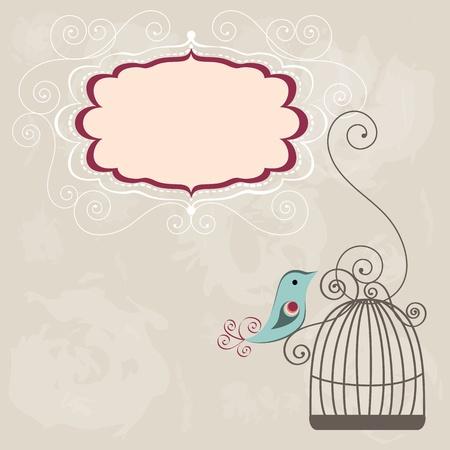 Mooie achtergrond met frame en vogelkooi Stock Illustratie