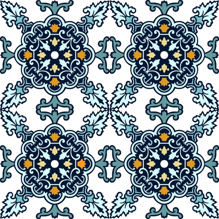 turkish ethnicity: Seamless ornamental tile background vector illustration