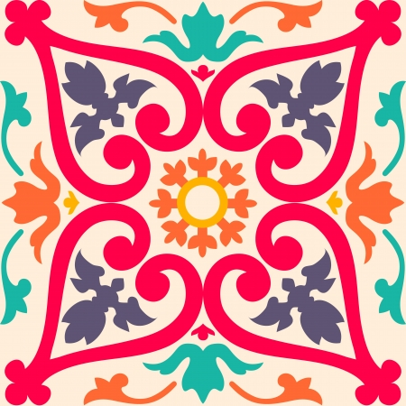 turkish ethnicity: Beautiful seamless ornamental tile background  illustration Illustration