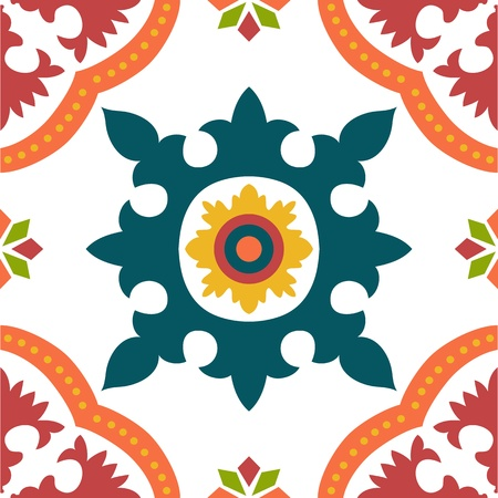persian culture: Beautiful seamless ornamental tile background illustration
