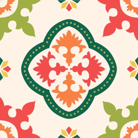 turkish ethnicity: Beautiful seamless ornamental tile background illustration