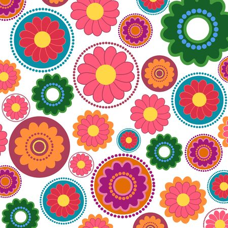 Seamless flower pattern with different color petals on white background Vector
