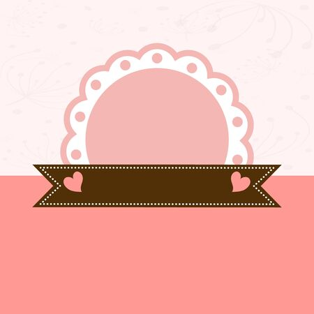 Invitation card with pink label  Vector illustration Vector