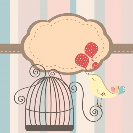 Beautiful background with frame and birdcage, vector illustration Vector