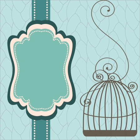 Beautiful background with frame and birdcage Reklamní fotografie - 19928124