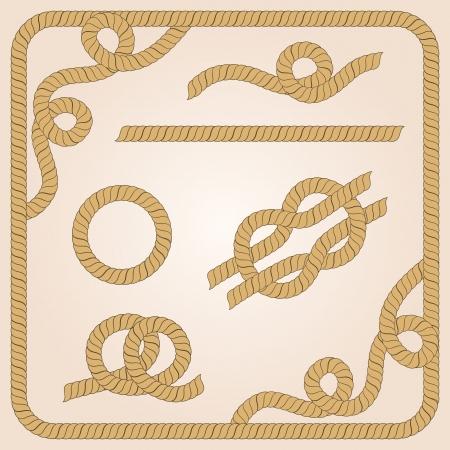 Verzameling van touw sjablonen met knopen, hoeken en ramen Stock Illustratie