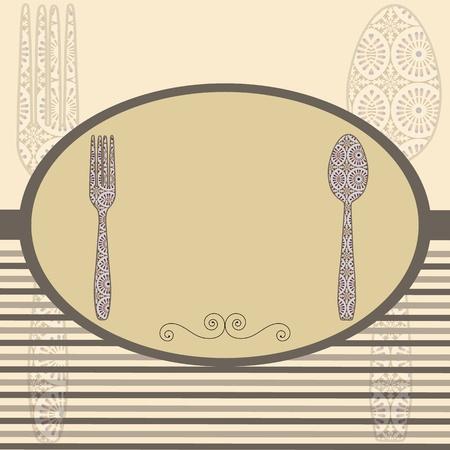 pietanza: Retro carta del menu posate