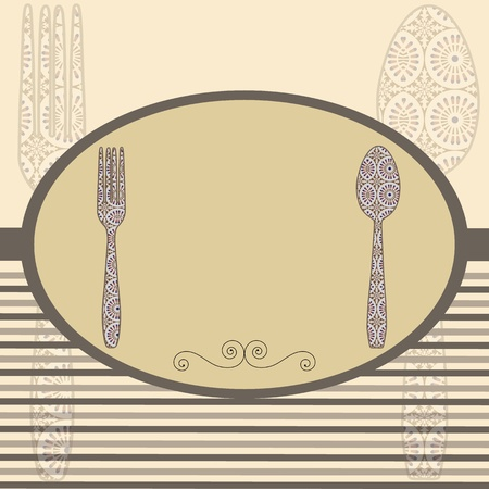 dinner setting: Tarjeta de men� Retro cuberter�a