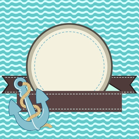 Nautical card with frame of the rope and anchor