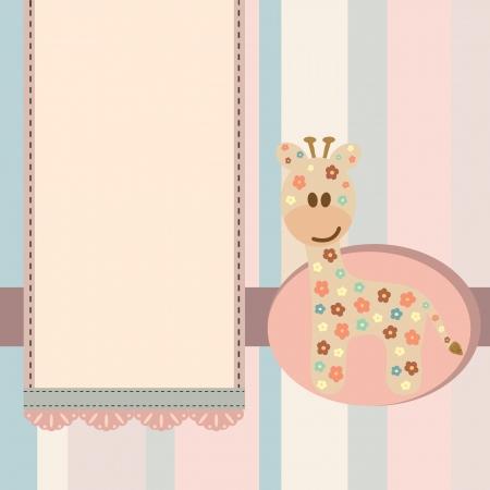 ベビー シャワー キリン女の子カード。  イラスト・ベクター素材