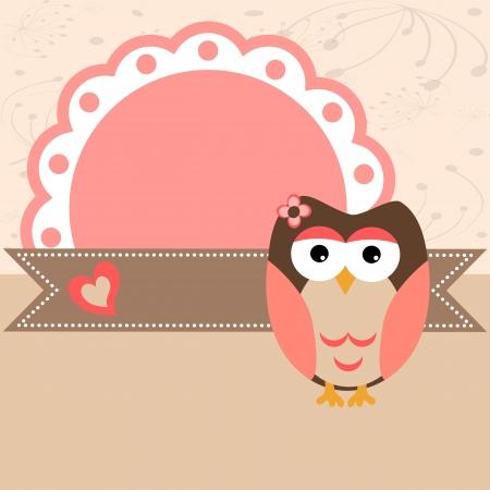 Baby owl pink scrapbook frame. Vector