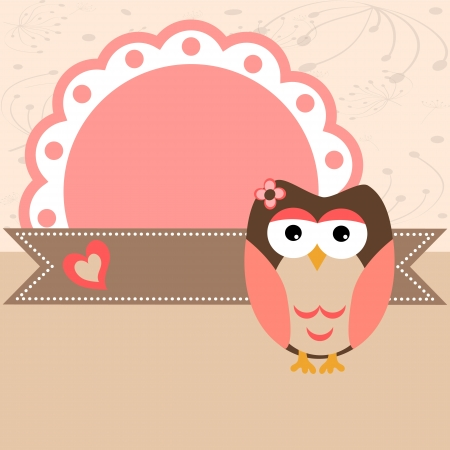 baby girl background: Baby owl pink scrapbook frame.