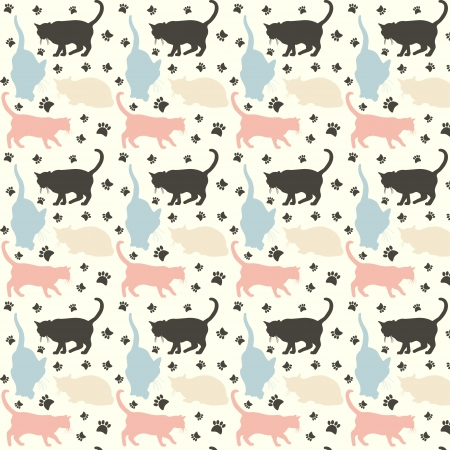 Stylish colorful cats pattern background. Vector