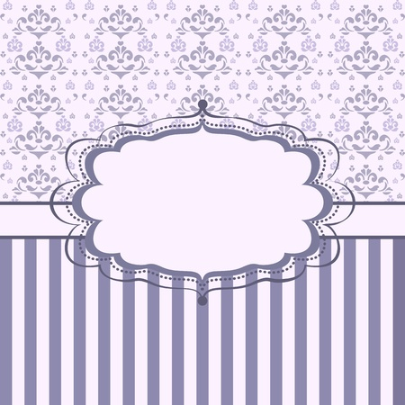 Vintage floral card. Damask background with stripes