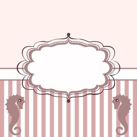 Vintage frame with seahorses. Background with stripes
