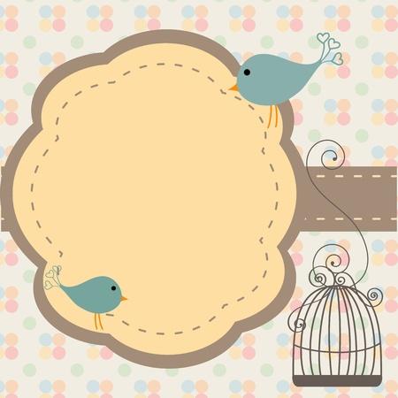 invitacion baby shower: Hermoso fondo con marco y jaula de p�jaros, ilustraci�n
