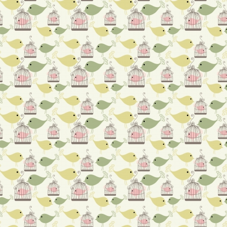 Vintage birds and birdcages collection  Seamless pattern  Wallpaper  Vector