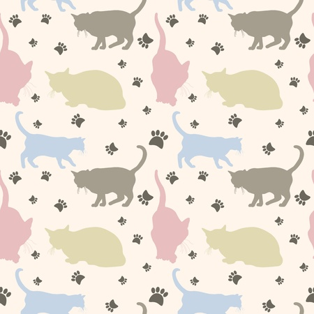 Stylish colorful seamless cats pattern background   Vector