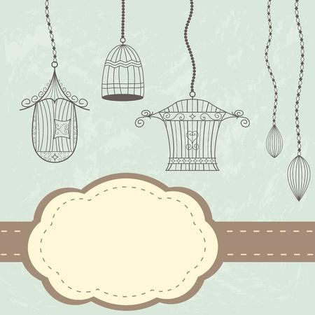 Vintage cages. Grunge background with label and birdcages Illustration