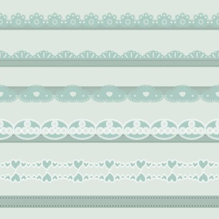 paper punch: Set of hand-drawn Lace Paper Punch Borders