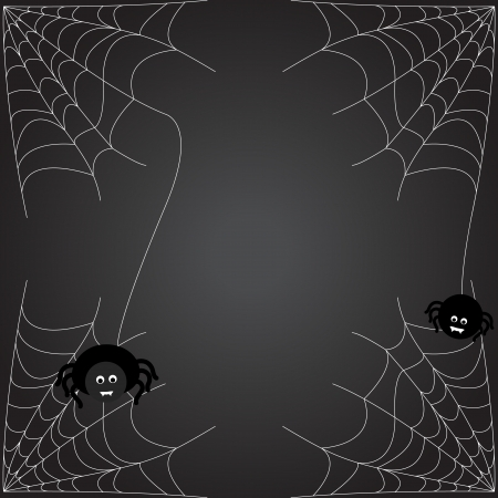cobwebby: Halloween background. The spider weaves a web.  Illustration