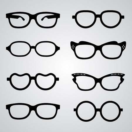 sun glasses: Set of glasses set with black thick holder retro hipster. Medical huge eye glasses silhouette collection. Sign of intelligence, secretary or school teacher